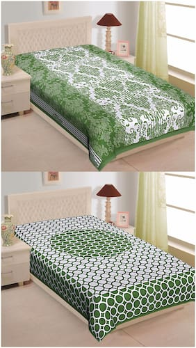 TEXSTYLERS Cotton Abstract Single Size Bedsheet Combo ( 2 Bedsheet Without Pillow Covers , Multi )