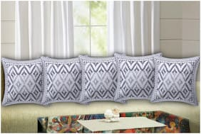 TEXSTYLERS Geometric Canvas Square Shape Grey Cushion Cover ( Regular , Pack of 5 )