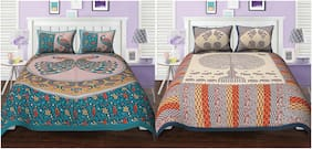 TEXSTYLERS Cotton Printed Double Size Bedsheet 144 TC ( 2 Bedsheet With 4 Pillow Covers , Multi )