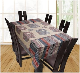 TEXSTYLERS Cotton Printed 6 Seater Table Cover