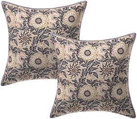 TEXSTYLERS Cotton Jaipuri Hand Block Print Canvas Cushion Cover(Pack of 2)