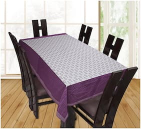 TEXSTYLERS Floral Printed Cotton 6 Seater Table Cover