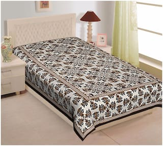 TEXSTYLERS Cotton Floral Single Size Bedsheet 104 TC ( 1 Bedsheet Without Pillow Covers , Multi )