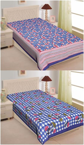 TEXSTYLERS Cotton Floral Single Size Bedsheet 144 TC ( 2 Bedsheet Without Pillow Covers , Multi )