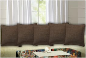 TEXSTYLERS Embroidered Rayon Square Shape Brown Cushion Cover ( Regular , Pack of 5 )