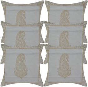 TEXSTYLERS Pure Cotton Block Printed Jaipuri Reversible Cushion Cover(Pack of 6)