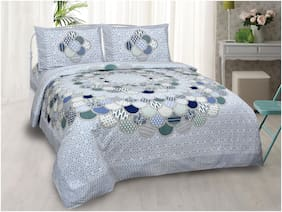 TEXSTYLERS Cotton Abstract King Size Bedsheet 220 TC ( 1 Bedsheet With 2 Pillow Covers , Multi )