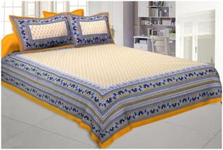 TEXSTYLERS Cotton Printed Double Size Bedsheet 200 TC ( 1 Bedsheet With 2 Pillow Covers , Multi )