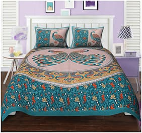 TEXSTYLERS Cotton Rajasthani Jaipuri Print Double Size Bedsheet 144 TC ( 1 Bedsheet With 2 Pillow Covers , Multi )