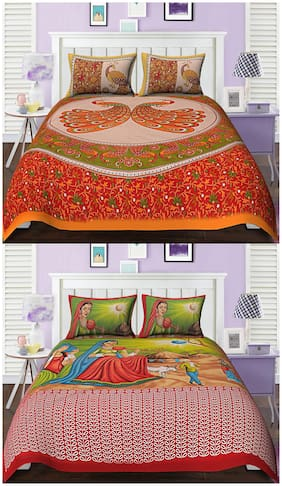 TEXSTYLERS Cotton Printed Double Size Bedsheet Combo ( 2 Bedsheet With 4 Pillow Covers , Multi )