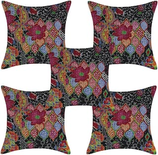 TEXSTYLERS Pure Cotton Kantha Work Jaipuri Cushion Cover(Pack of 5)
