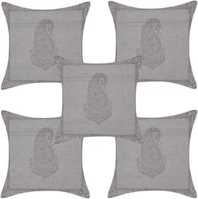 TEXSTYLERS Printed Cotton Square Shape Peach Cushion Cover ( Regular , Pack of 5 )