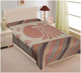 TEXSTYLERS Cotton Abstract Single Size Bedsheet 180 TC ( 1 Bedsheet Without Pillow Covers , Multi )