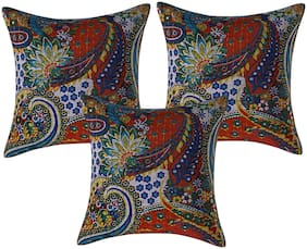 Texstylers Pure Cotton 16x16 Inches Kantha Work Cushion Cover