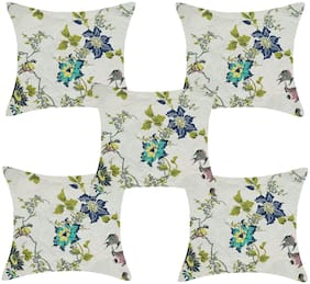 TEXSTYLERS Printed Cotton Square Shape Assorted Cushion Cover ( Regular , Pack of 5 )