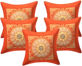 Texstylers Rayon Embroidery Jaipuri Cushion Cover(Pack of 5)