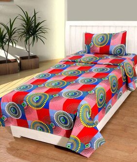 Teyja collections Poly cotton single bedsheet with one pillow cover