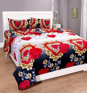 Teyja Collections poly cotton double bedsheet with two pillow covers