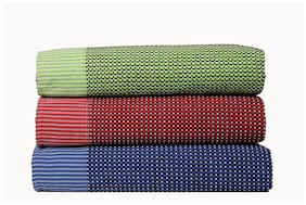 Tharunsha Elite Single Size Pure Cotton Blanket / Solapur Chaddar / Cotton Bedsheet for All Weather Daily use Checkered Light Green Red Navy Blue Family Pack (60x90 inches - ) Set of 3
