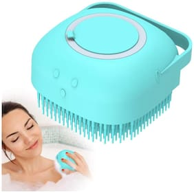The Brand Store Silicone Bath Brush with Soft Bristles & Soap Dispenser for Body Cleaning (Pack of 1) Assorted