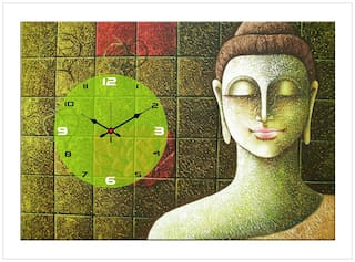 The Craft Company wooden & canvas wall clock Multi Colored ( 25 cm x 30 cm )