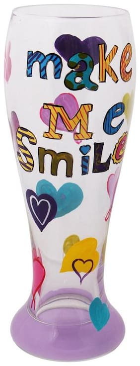 The Crazy Me Make me Smile Beer Glass (hand Painted)
