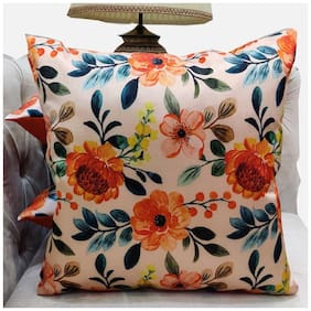 Good Vibes Printed Polyester Square Shape Orange Cushion Cover ( Regular , Pack of 3 )