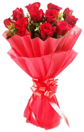 The FloralMart Fresh Flower Bouquet of 08 Red Roses in Paper Wrapping