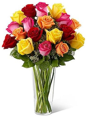 The FloralMart Special Glass Vase Arrangement of 20 Mix Roses Fresh Flowers with Seasonal Fillers and Greenery
