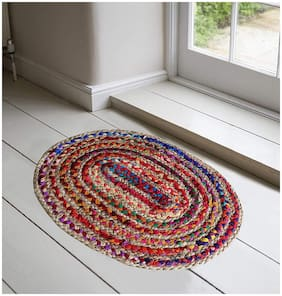 The Home Talk Cotton and Jute Braided Floor Rug/Doormat/Pooja mat, 40 x 60 cm, Oval Shape, Pack of 2 pcs- Multicolor