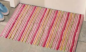 The Home Talk Cotton Rug , Pink
