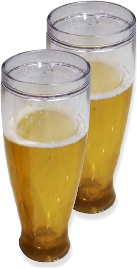 The Home Talk Pack of 2 Beer Glasses, Freeze before use, Coolant movable liquid on outer layer, Best for parties, drinks