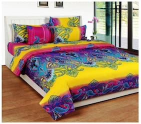 The Intellect Bazaar Cotton Printed King Size Bedsheet 160 TC ( 1 Bedsheet With 2 Pillow Covers , Multi )
