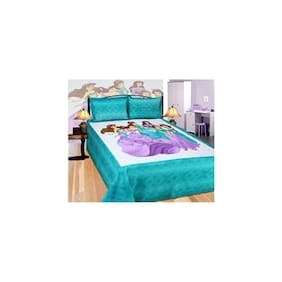 The Intellect Bazaar Cotton Printed King Size Bedsheet 104 TC ( 1 Bedsheet With 2 Pillow Covers , Multi )