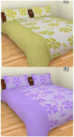 The Intellect Bazaar 2 Cotton Double Bedsheet With 4 Pillow Covers