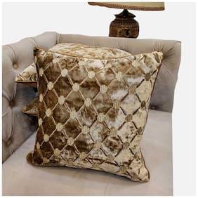 Good Vibes Embroidered Velvet Square Shape Green Cushion Cover ( Regular , Pack of 3 )