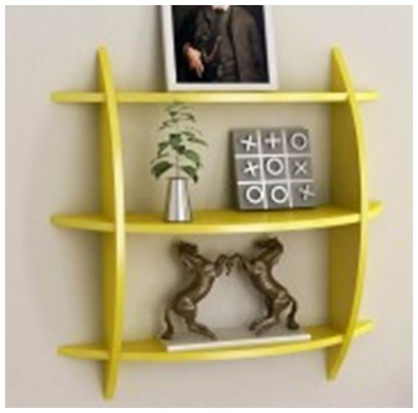 The New Look Wooden Wall Shelf  Number of Shelves   3 Yellow 20x4.5x20 inch by The New Look