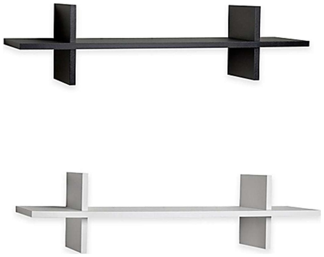 The New Look Wooden Wall Shelf  Number of Shelves   2 Black White  22X5X5 inch