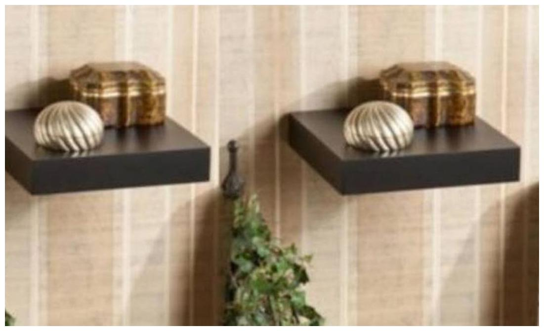 The New Look Wooden Wall Shelf  Number of Shelves   2 Black  8.5X8.5X2.5 Iinces by The New Look
