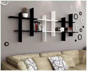 The New Look Lving Room Design MDF Wall Shelf  (Number of Shelves - 6, Black, White)