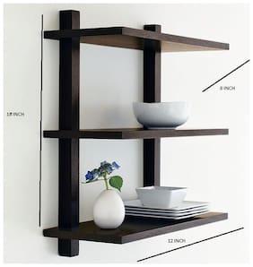 The New Look 3 Tier Wall Shelf Black 12x8x18 inch
