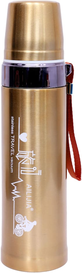 THE PRINT HUB THE PRINT HUB 10HR HOT AND COLD 800ML STAINELESS STEEL PREMIUM QUALITY MATTE FINISH GOLDEN FLASK Thermosteel Flask Set of 1 ( Golden , Stainless Steel ,  800 ml )