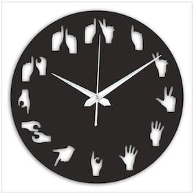 THE PRINT HUB Quirky Wood Analog Wall Clock (30.48 cm x 30.48 cm x 0.508 cm (LxBxH) Black Set of 1 )