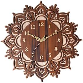 THE PRINT HUB Quirky Wood Analog Wall Clock (38.1 cm x 38.1 cm x 0.508 cm (LxBxH) Brown Set of 1 )