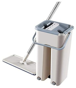 Theprohomes Mop with Bucket -Hands-Free Microfiber Flat Spin Mop System 360° Flexible Head Mop with 2 Microfiber Pads