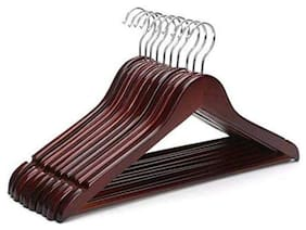 ROLLYWARE Wood Brown Hangers ( Set of 10 )