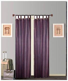 Tidy Purple Colour Cotton Loop Door Curtain - Pack of 2Pcs