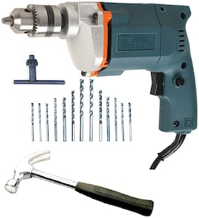 Tiger 10 mm Electric drill Machine with hammer + 13 HSS Bits