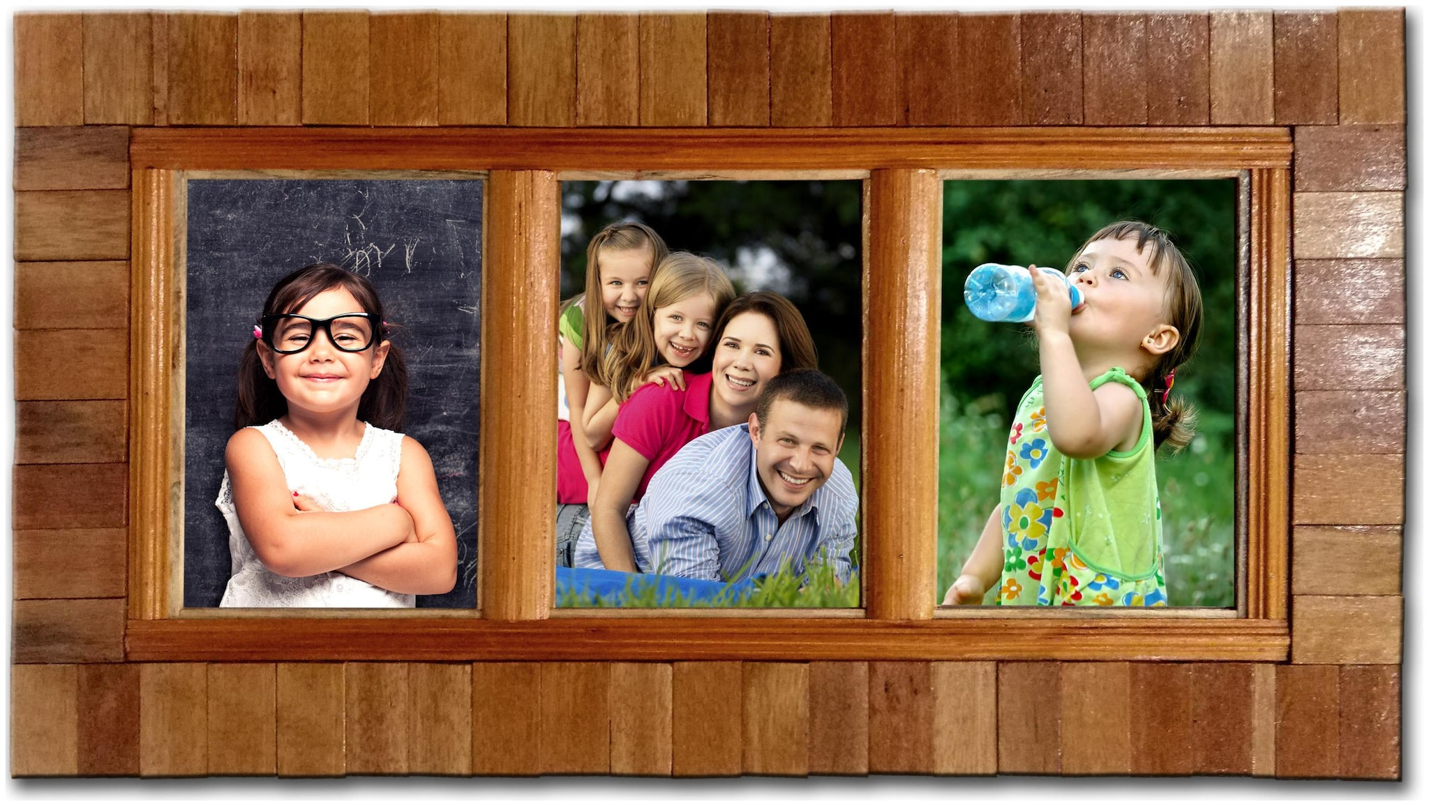 TechnoLandCraft Wood Brown Collage picture frame ( Set of 1 )