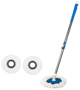 TOPREDO 360 Degree Mop Rod Stick Stainless Steel with 2 Refills Super Absorbent Refills for All Home & Office Floor Cleaning